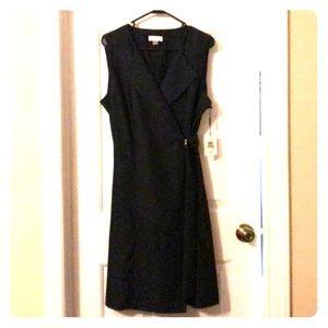 CalvinKlein Sleeveless Collared Wrap Dress